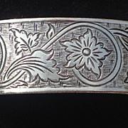 Vintage Sterling Silver Hand Etched Floral Motif Cuff Bracelet