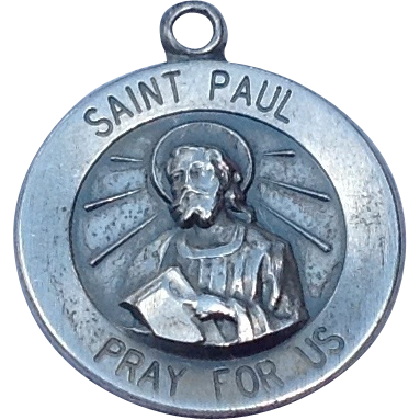 Vintage Sterling Silver Saint Paul Pray For Us Medal