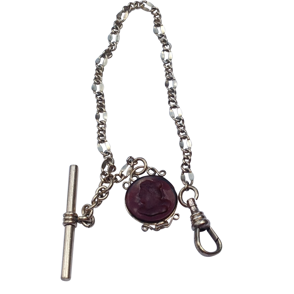 Victorian Gold Filled Fancy Link Watch Chain & Intaglio Fob