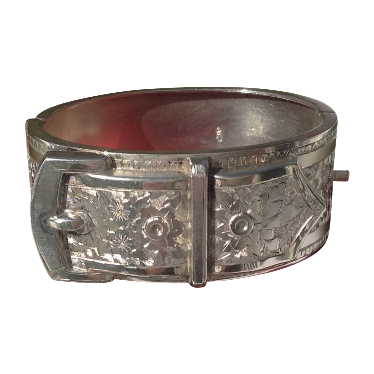 1901 Birmingham England Sterling Silver Buckle Bangle Bracelet