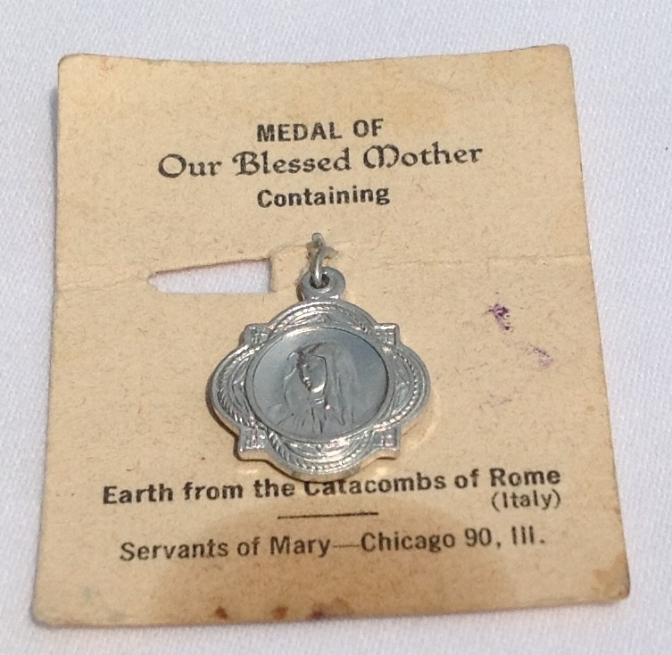 Vintage Blessed Mother Medal Containing Earth From The Catacombs Of Rome