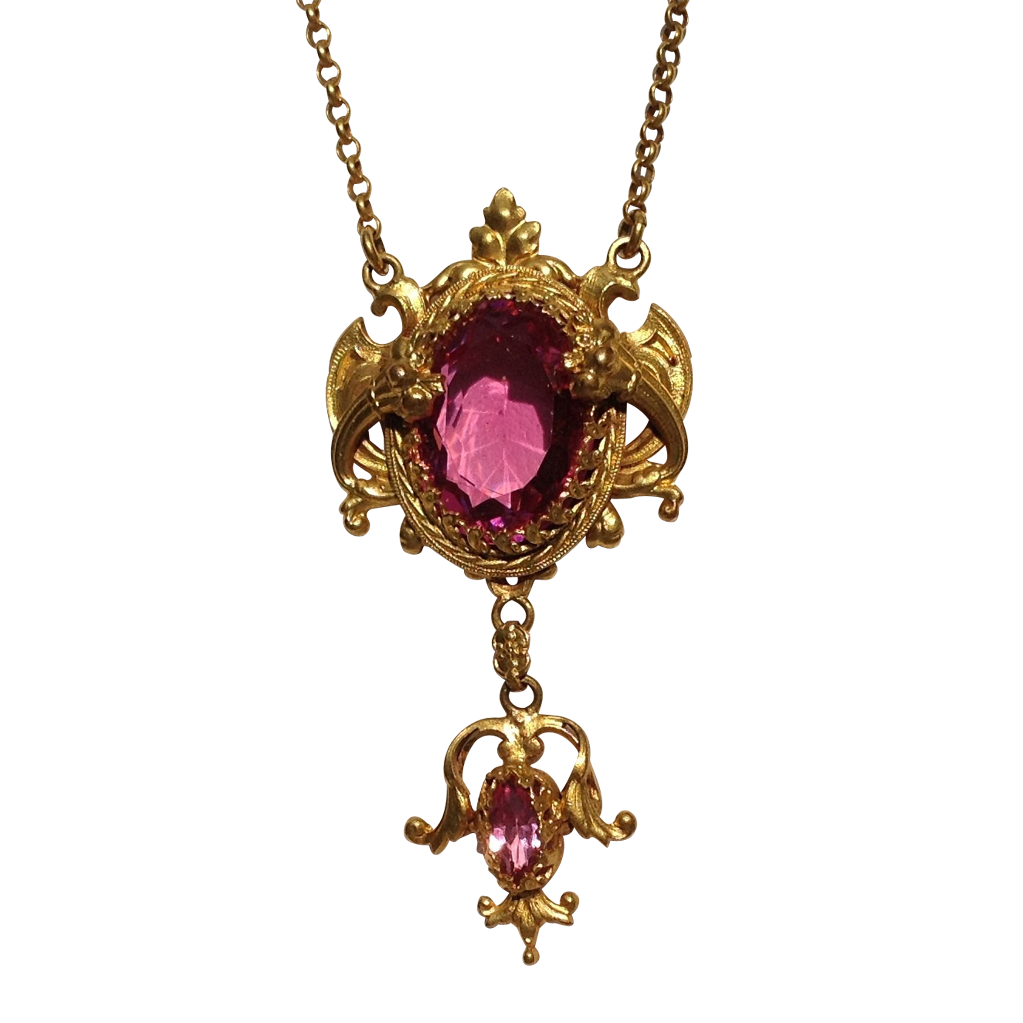 Art Deco Gold Tone Metal  Faceted Pink Tourmaline  Rhinestone Necklace