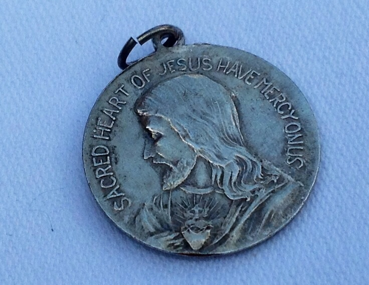 Vintage Sacred Heart Of Jesus Have Mercy On Us Silver Tone Medal