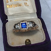 Art Deco 14K White Gold  Filigree Sapphire Diamond Ring