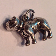 Vintage Sterling Silver Large Bull Dog Charm