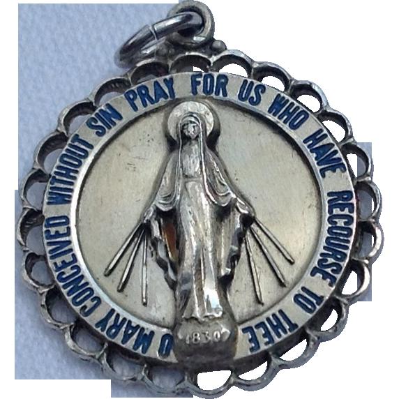 Vintage Creed Sterling Silver Enamel Miraculous Medal