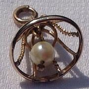 Vintage Gold Filled Wedding Bell Charm