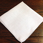 Vintage White Cotton  Handkerchief