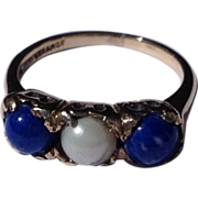 Victorian 10 K Gold Lapis  Cultured Pearl Ring