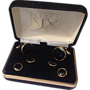 Vintage Gold Filled Black Onyx Tuxedo Set In Original Box