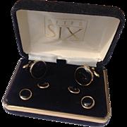 Vintage Gold Filled Black Onyx Tuxedo Set In Original Box