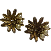 Vintage Gold Tone Faux Pearl Rhinestone Clip Earrings