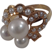 Vintage 14 K Gold Cultured Pearl Ring