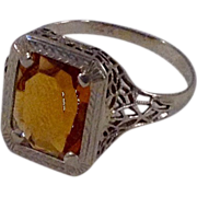 Vintage 14 K Filigree Gold Citrine Ring