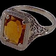 Vintage 14 K Filigree Gold Citrine Ring