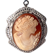 Vintage Sterling Silver Cameo Brooch Pendant