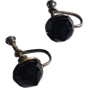 Vintage Silver Tone Metal Faceted Black Faux Onyx Earrings