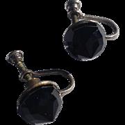 Vintage Silver Tone Metal Faceted Black Faux Onyx Earrings