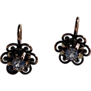 Vintage  French 18 K Gold Spinel Buttercup Earrings