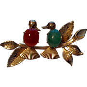 Vintage 14 K Gold Filled Winard Lovebird Brooch