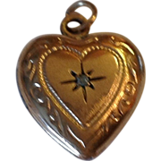 Vintage 14 K Gold Filled Genuine Diamond  Puffy Heart Double Photo Locket