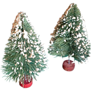 "Pair Vintage Flocked Bottle Brush 6"" Christmas Trees"
