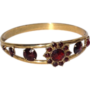 Vintage Gold Filled Faux Garnet Bangle Bracelet