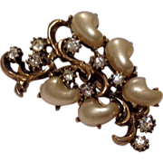 Vintage Gold Tone Faux Pearl & Rhinestone Brooch Pin