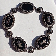 Vintage Sterling Silver Black Onyx Marcasite Flexible Link Bracelet