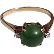 Vintage 10 K Gold 2.50 CT Cabochon  Chrysoprase & Diamond Ring