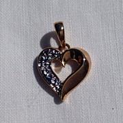 Vintage Sterling Silver Vermeil Rhinestone Heart Pendant