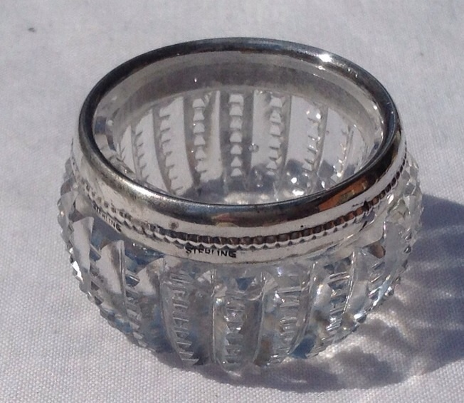 Vintage Sterling Silver Rim Cut Crystal Salt Cellar Dish - Red Tag SOLD | Ruby Lane : crystal salt cellars  - Aeropaca.Org