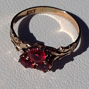 Victorian 10 K Gold Red Tourmaline Ring