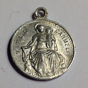French Vintage Aluminum Our Lady Of Mt.  Carmel Silver Tone Medal