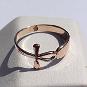 Vintage Gold Tone Metal Cross Ring
