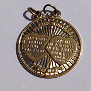 Vintage 14 K Gold Filled Mizpah Coin Friendship Charm