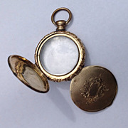 Victorian English 9 K Gold Trifold Photo Locket