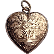 Vintage French 18 K Gold Heart Double Photo Locket