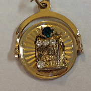 Vintage 12 K Gold Filled Mechanical Spinning Las Vegas Slot Machine Charm