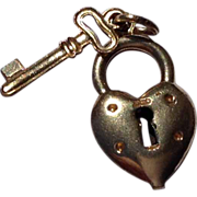 Vintage Gold Filled Heart Lock Key Charm
