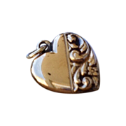 Vintage 10 K Gold Puffy Repousse Heart Charm Pendant