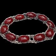 Vintage Sterling Silver Cabochon Carnelian Link Bracelet