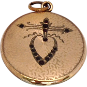 Art Deco Gold Filled Round  Double Photo Heart Motif Locket