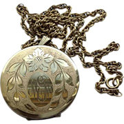 Vintage 12 K Gold Filled Double Photo Locket & Chain
