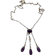 Vintage Amethyst Glass & Pearl  Brass Necklace