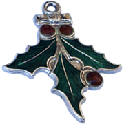 Vintage  Sterling Silver Enamel Christmas Holly Charm
