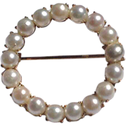 Vintage 12 K Gold Filled Faux Pearl Circle Brooch