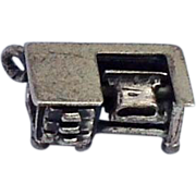 Sterling  Silver Mechanical Desk Typewriter Charm