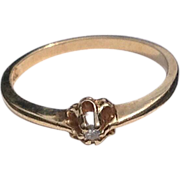 Art Deco 14 K Gold Diamond Promise Engagement Ring