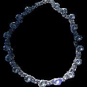 Art Deco. Sterling Silver Sparkling Open Back Crystal Necklace